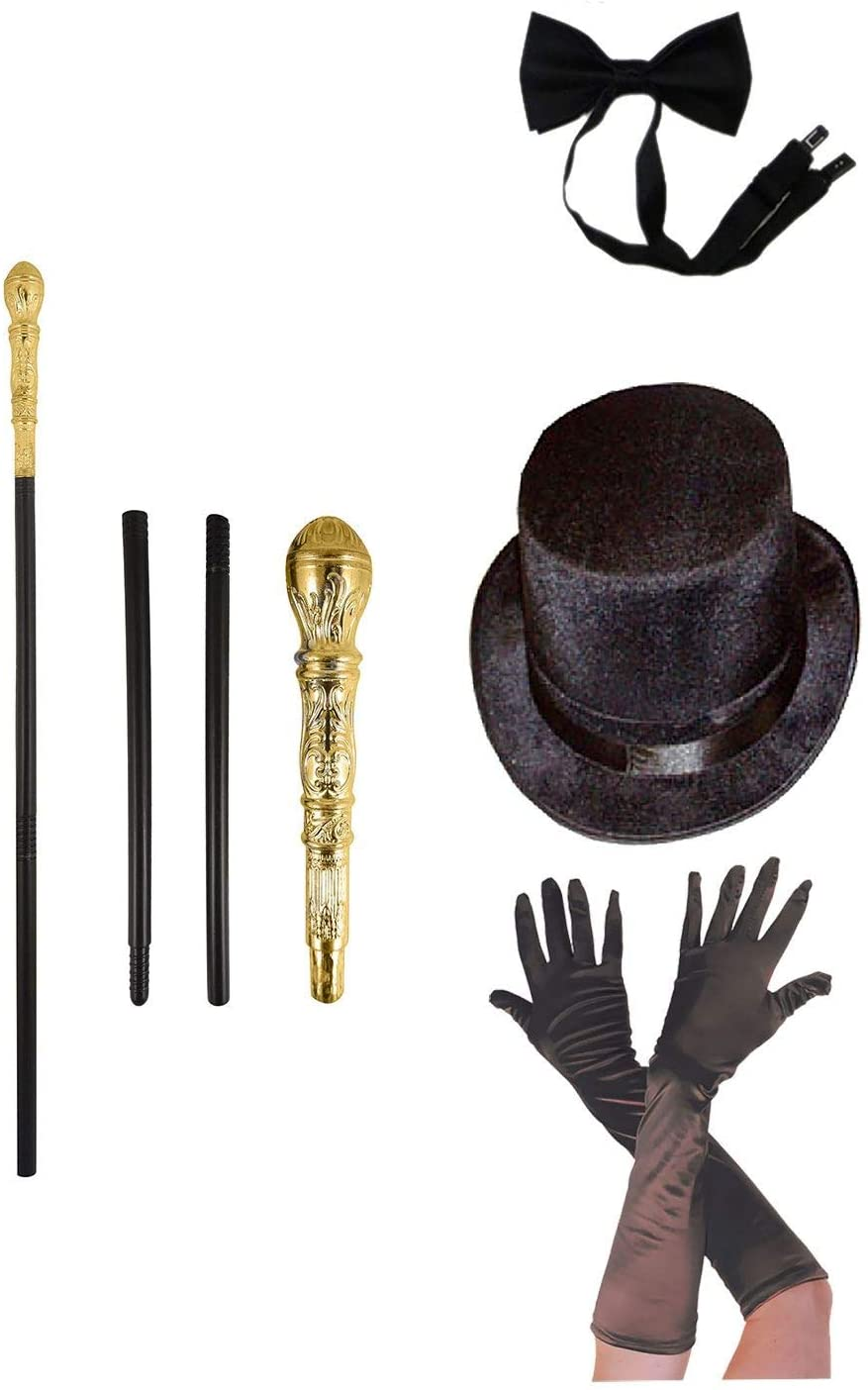Rimi Hanger Adults Topper Hat Satin Gloves Bowtie and 3 Pcs Gold Top Stick Pimp Accessories (Hat+ Gloves+ Stick+ Bowtie Set)