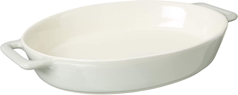LE REGALO Stoneware Oval Baking Dish, 14x9.5x2.5, White