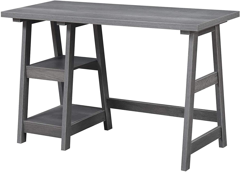 Convenience Concepts Designs2Go Trestle Desk, Charcoal Gray