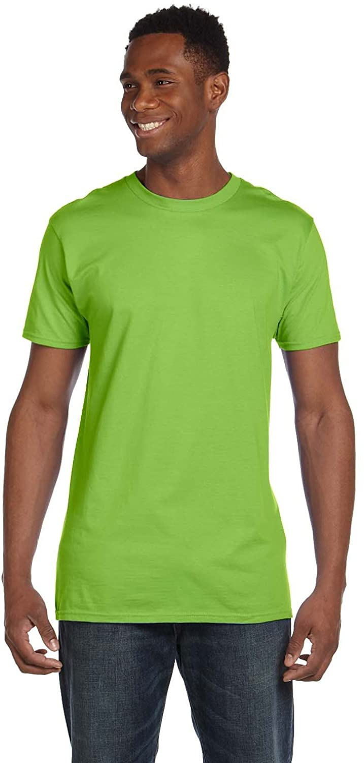 By Hanes Mens 45 Oz, 100% Ringspun Cotton Nano-T T-Shirt - Lime - L - (Style # 4980 - Original Label)