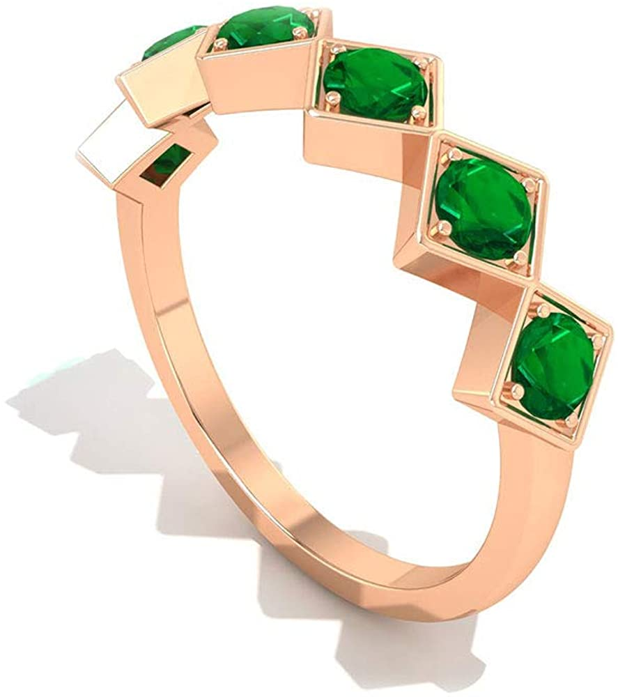 0.72 CT Round Certified Lab Created Emerald Eternity Bridal Ring, Solid 14k Gold Engraved Square Shape Wedding Ring, May Birthstone Stackable Anniversary Ring Set, 18K Gold