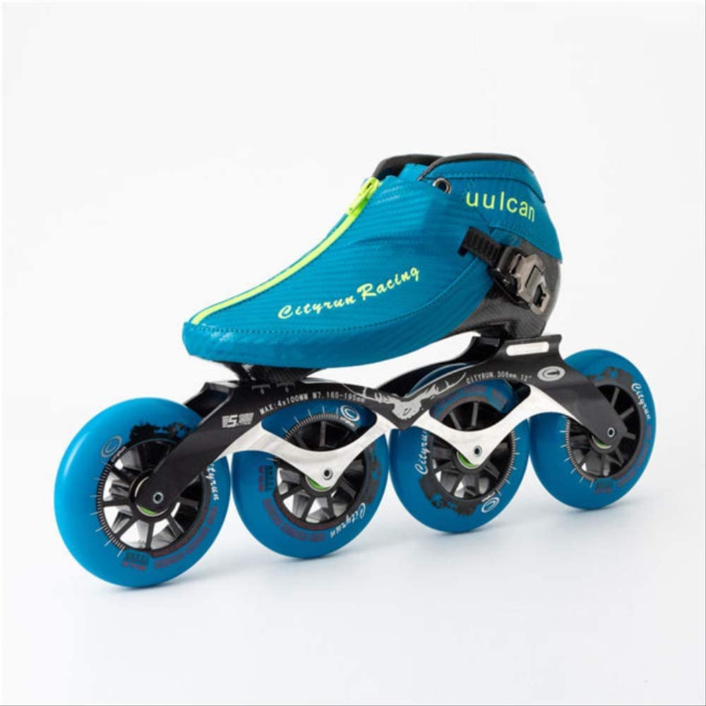 Cityrun Professional Speed Inline Roller Skates for Kids Adult Carbon Fiber 4 Wheel Racing Speed Skating Zip Shoes Patines 30 Blue