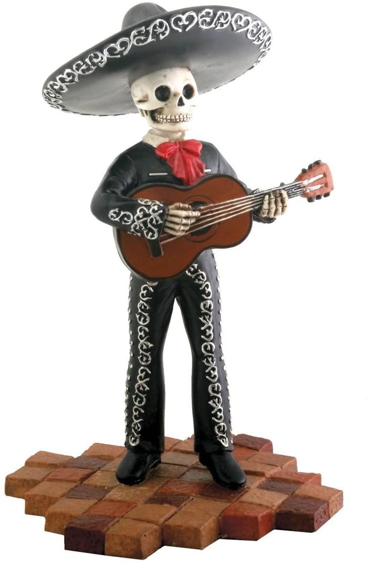 Skeleton Skull Black Mariachi Band Guitar Figurine Collectible