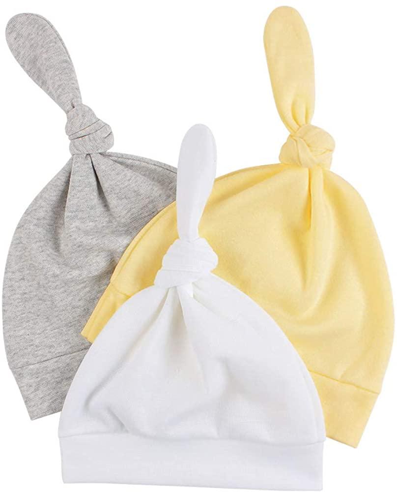 JANGANNSA 4-Pack 100% Cotton Newborn Hat for Boys Girls Cartoon Soft Baby Hospital Beanie Tire Hat 0-6 Months