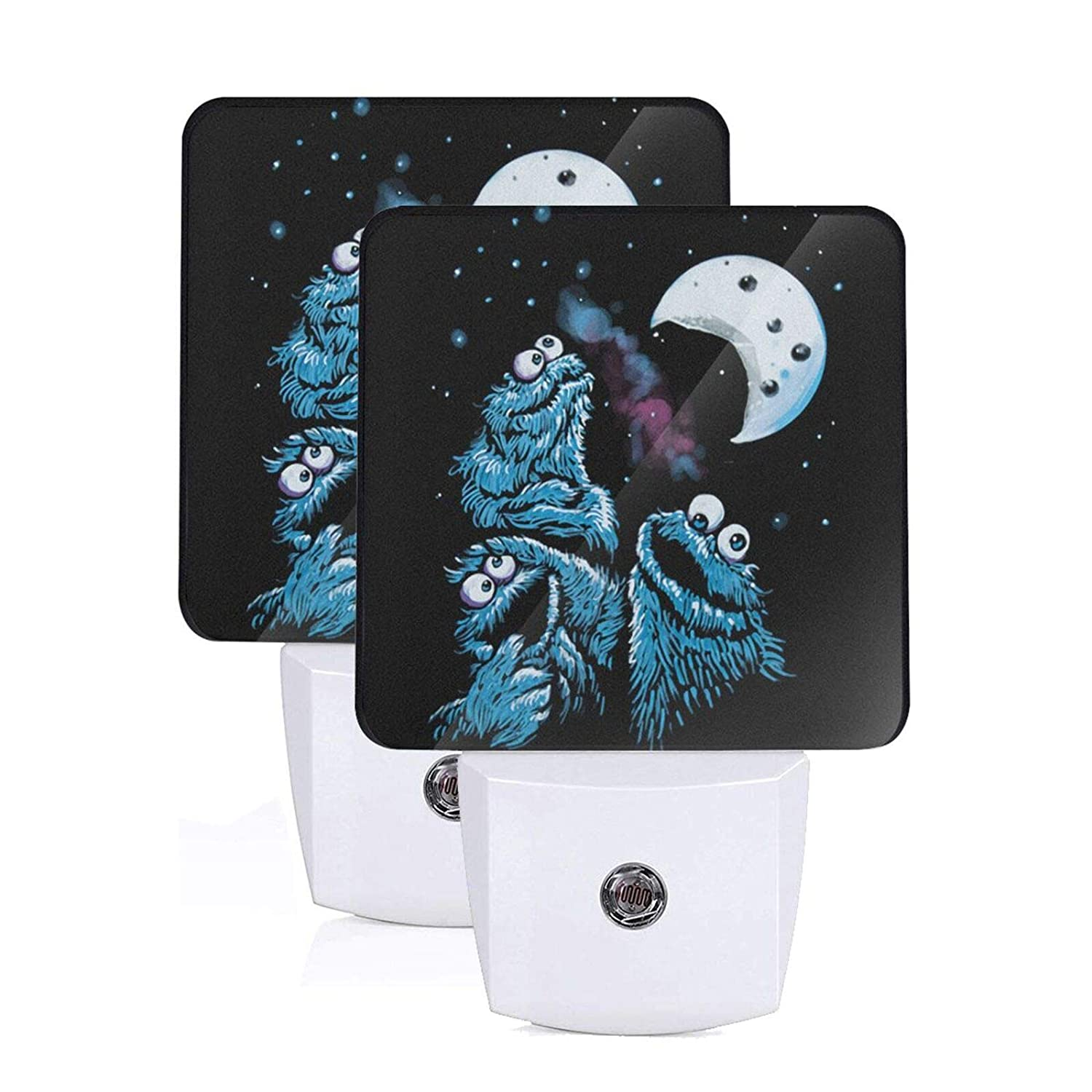 Cookie Monster Moon Plug-in Led Night Light with Auto Dusk to Dawn Sensor,Bedroom, Kids Room, Kitchen, Stairway, Adjustable Brightness 2 Pack
