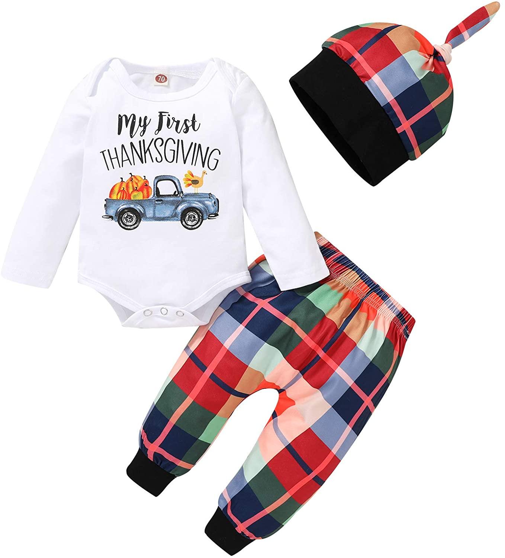 Thanksgiving Newborn Baby Boy Outfit Gentleman Tie Funny Turkey Romper Top Pants Hat 3Pcs Clothes Set