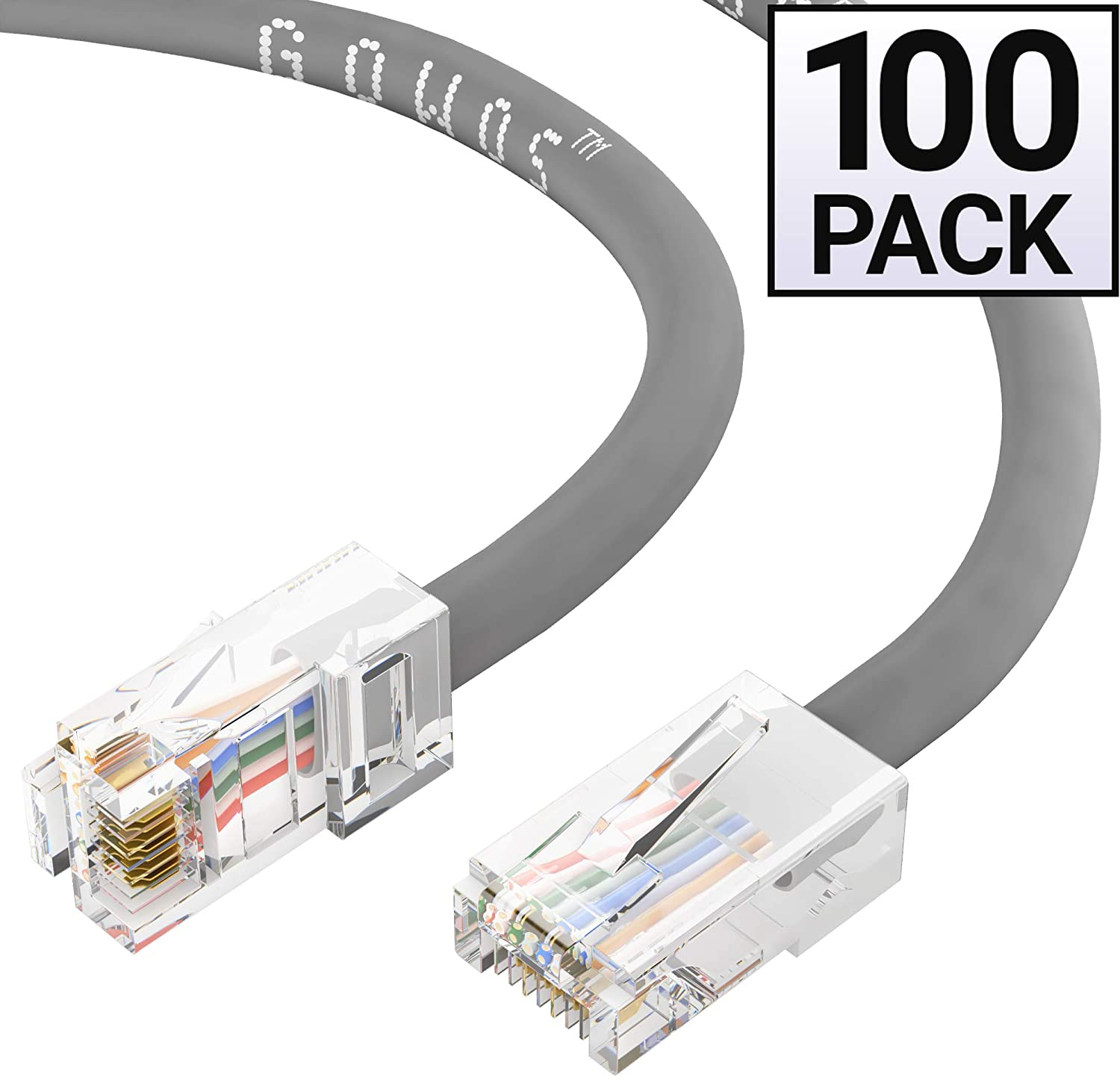 GOWOS Cat5e Ethernet Cable (100-Pack - 50 Feet) Gray - 24AWG Network Cable with Gold Plated RJ45 Non-Booted Connector - 1Gigabit/Sec High Speed LAN Internet/Patch Cable - 350MHz