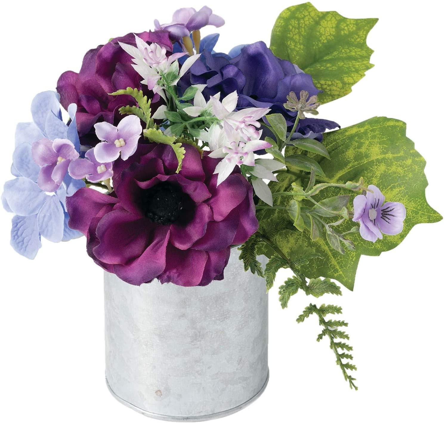Sullivans Faux Hydrangea and Anemone Premade Flower Arrangement for Living Room, Kitchen, or Office Floral Decor (DOT201)