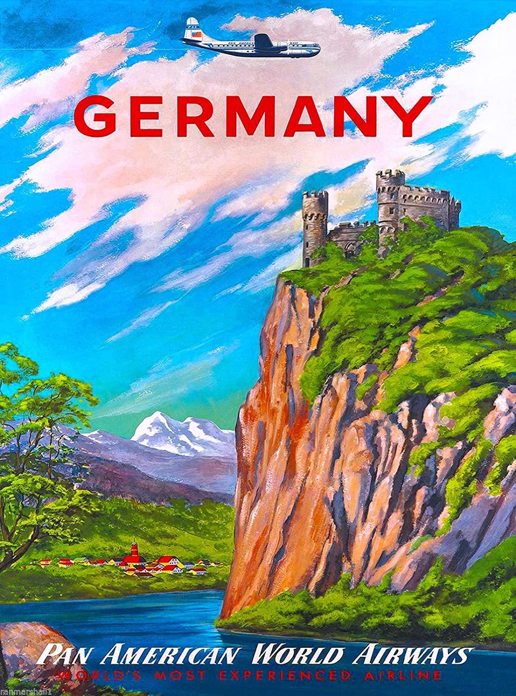 A SLICE IN TIME Germany German Airplane Europe European Vintage Travel Advertisement Art Poster