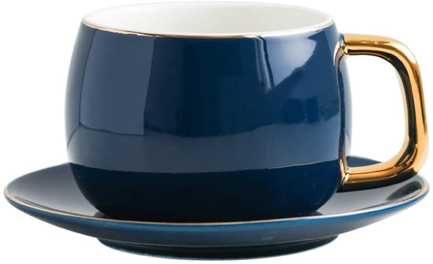 SPSCO Cappuccino Cups with Saucers Set,9 Ounce Coffee Set with Gold Metal Stand- Set of 6 (COALTED BLUE)
