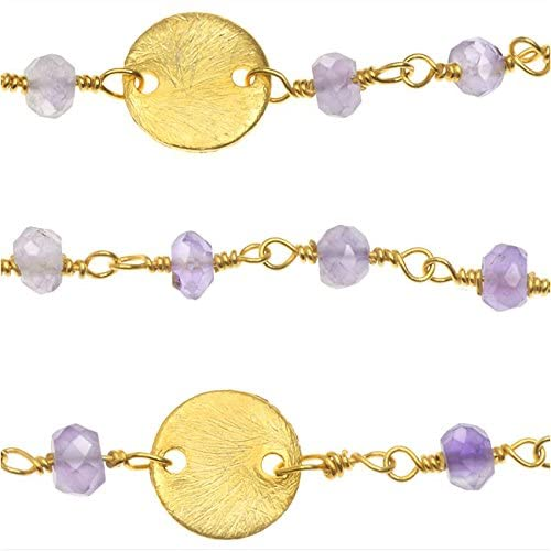 Beadaholique Wire Wrapped Gemstone Chain, Amethyst Rondelles, 8mm Gold Pailettes, by The Inch