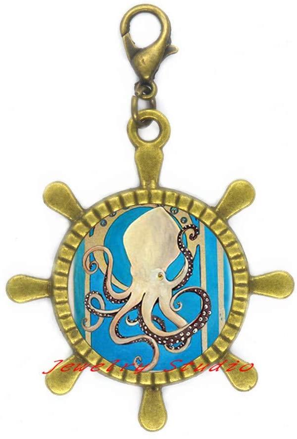 Best Friend Gift • Octopus Rudder Zipper Pull • Best Friend Rudder Zipper Pull • BFF Gift • Octopus Charm Rudder Zipper Pull-HZ0153