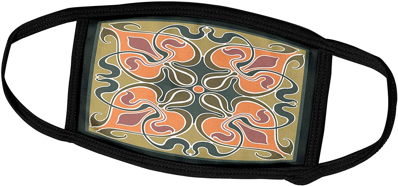 3dRose Single Victorian Art Nouveau Tile Design in Orange and Green - Face Covers (fc_219320_3)