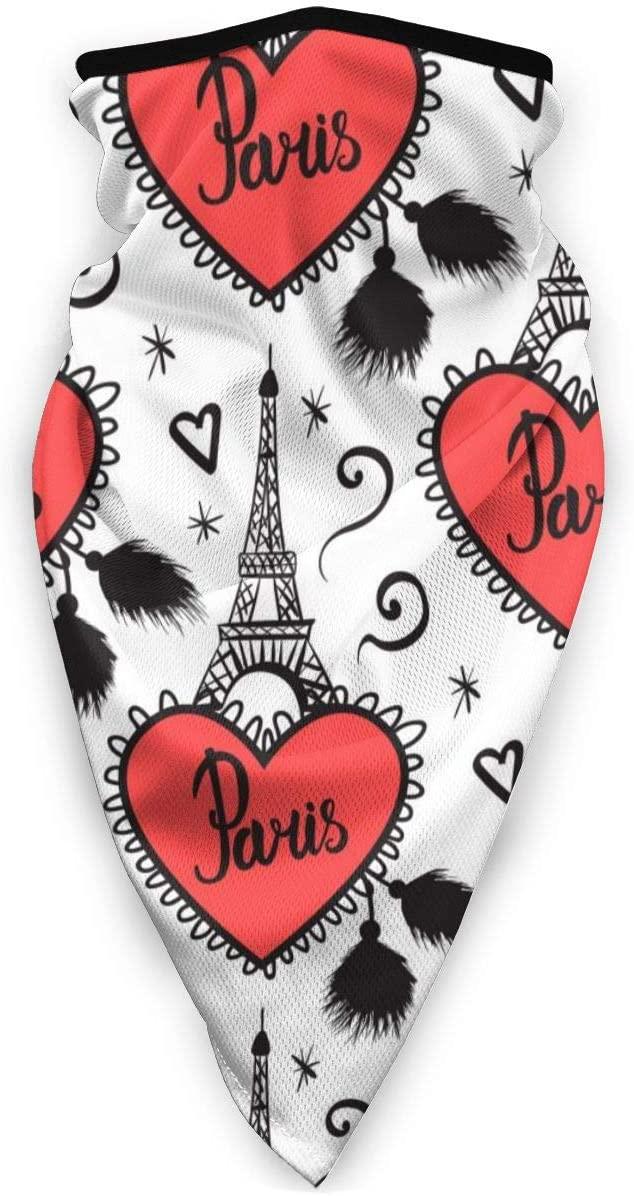Loveful Personalized Heart with Fringe Eiffel Tower, Paris, France Half Face Mask Balaclava Women Men Ski Mask Bandana for Motorcycling