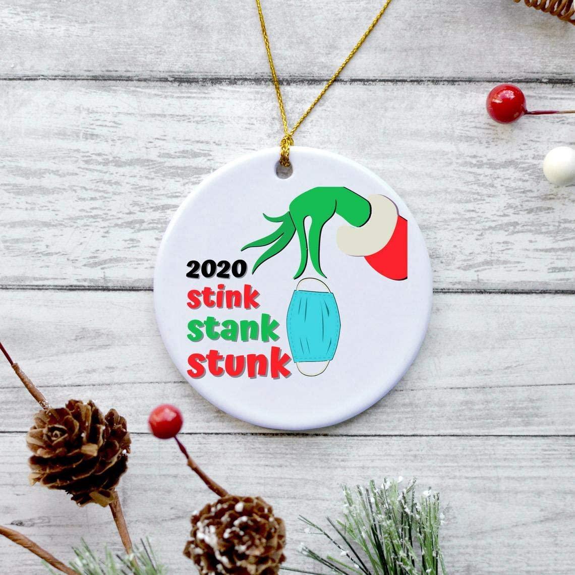 3 Inch Christmas Ornament, Stink Stank Stunk | The Grinch 2020 Christmas Ornament | Personalized Ceramic Ornament | Quarantined 2020 Christmas | Dr. Seuss Mr. Grinch
