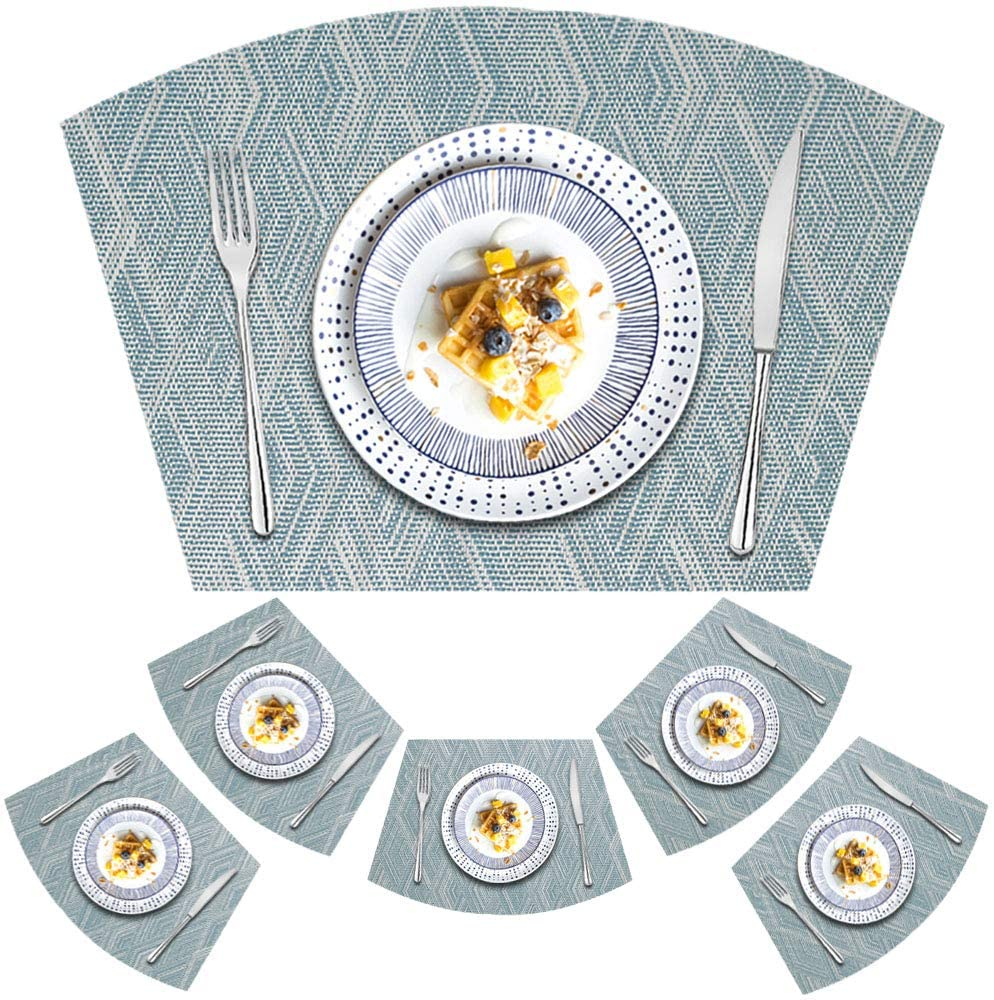 Kreatur Round Table Placemats Set of 6 Wedge Placemat for Dining Table,Durable Heat Resistant Non-Slip Washable Wipe Clean Woven Vinyl Placemat Blue