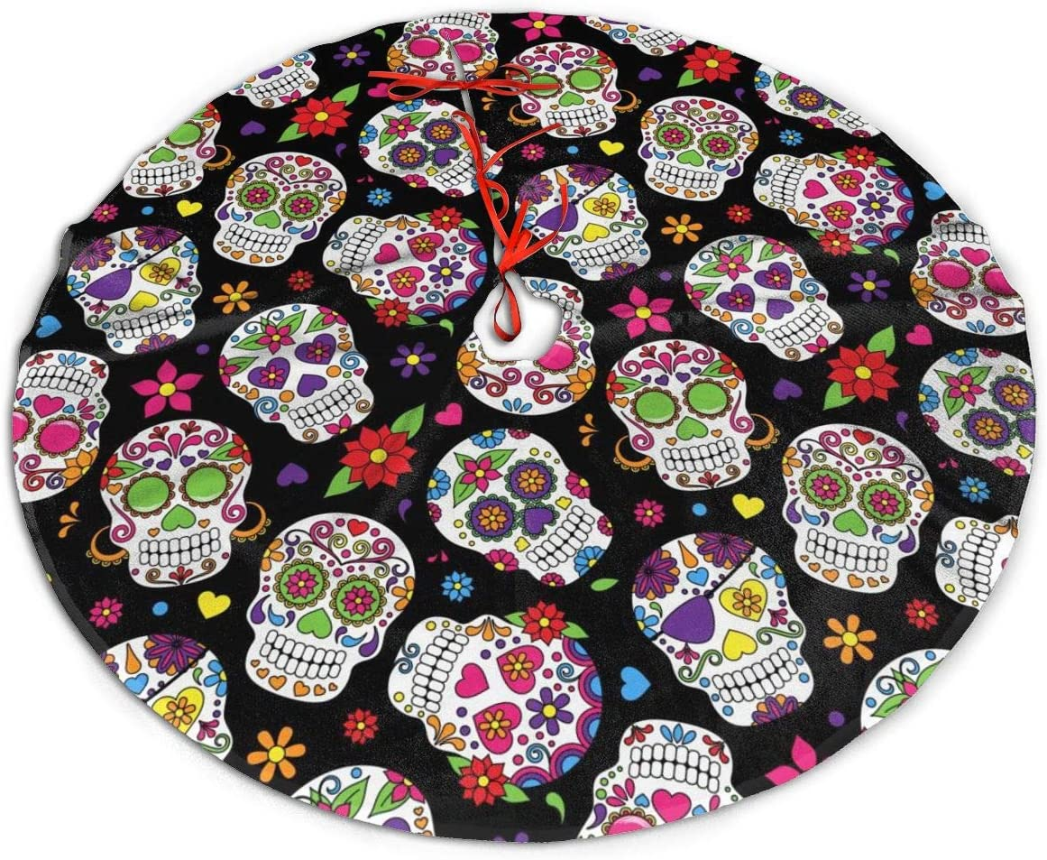 MSGUIDE Sugar Skull Christmas Tree Skirt Ornaments 48inch Tree Skirt for Party Holiday Christmas Decorations Xmas Tree Mat Decorations Indoor Outdoor