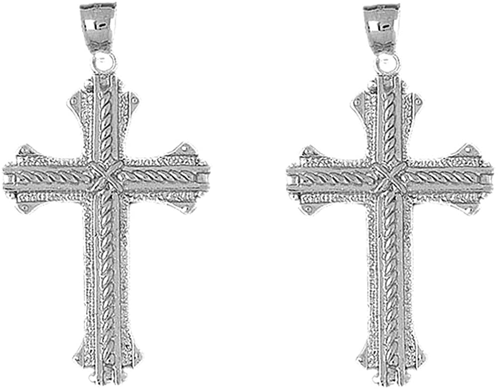 Jewels Obsession Roped Cross Earrings   Sterling Silver Roped Cross Lever Back Earrings - Made in USA