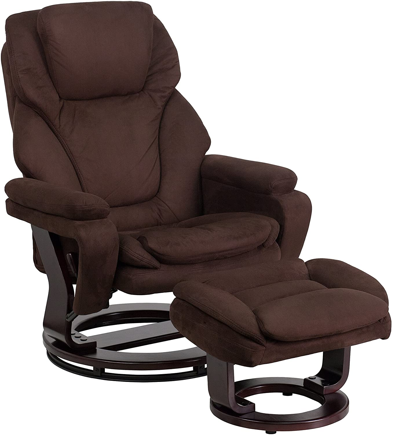 My Friendly Office MFO Contemporary Brown Microfiber Recliner and Ottoman with Swiveling Mahogany Wood Base