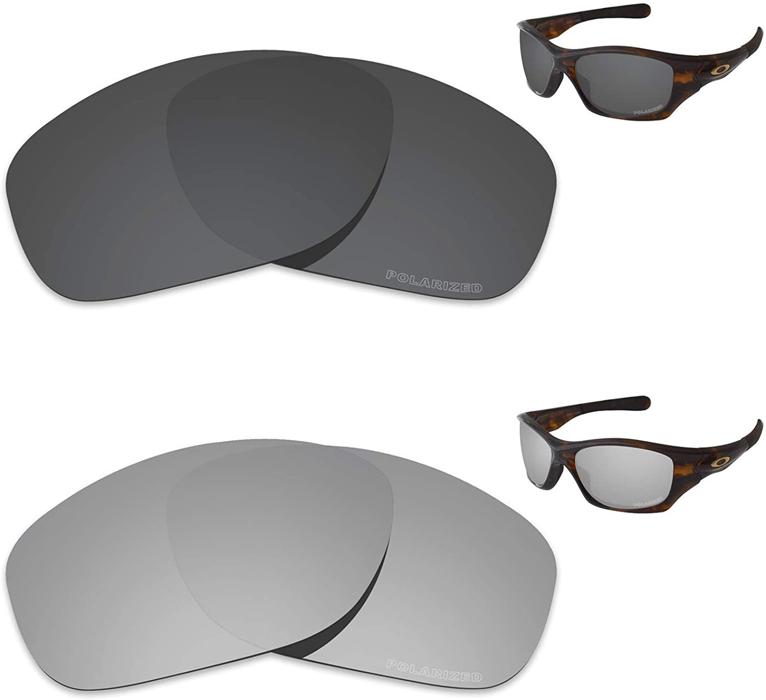 Tintart Performance Replacement Lenses for Oakley Pit Bull Polarized Etched - Value Pack
