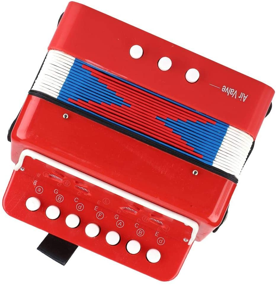 Kids Accordion, 7 Key Children Accordion Toy, Mini Accordion Musical Instrument with 2 Bass Buttons & 1 Air Valve for Kids Children Amateur Beginner Christmas Toddlers Gift(red)