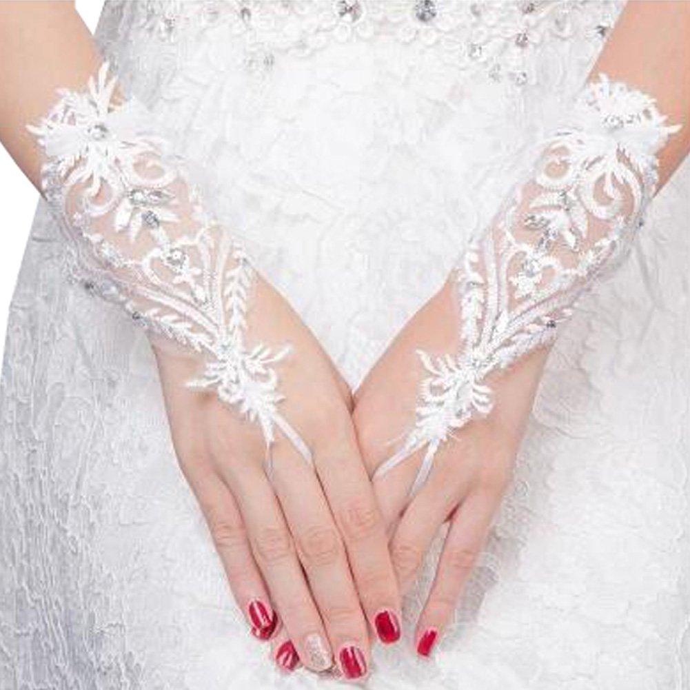 Elegant Lady Formal Banquet Party Bride Pierced Lace Wedding Gloves Bridal Gloves, NO.35