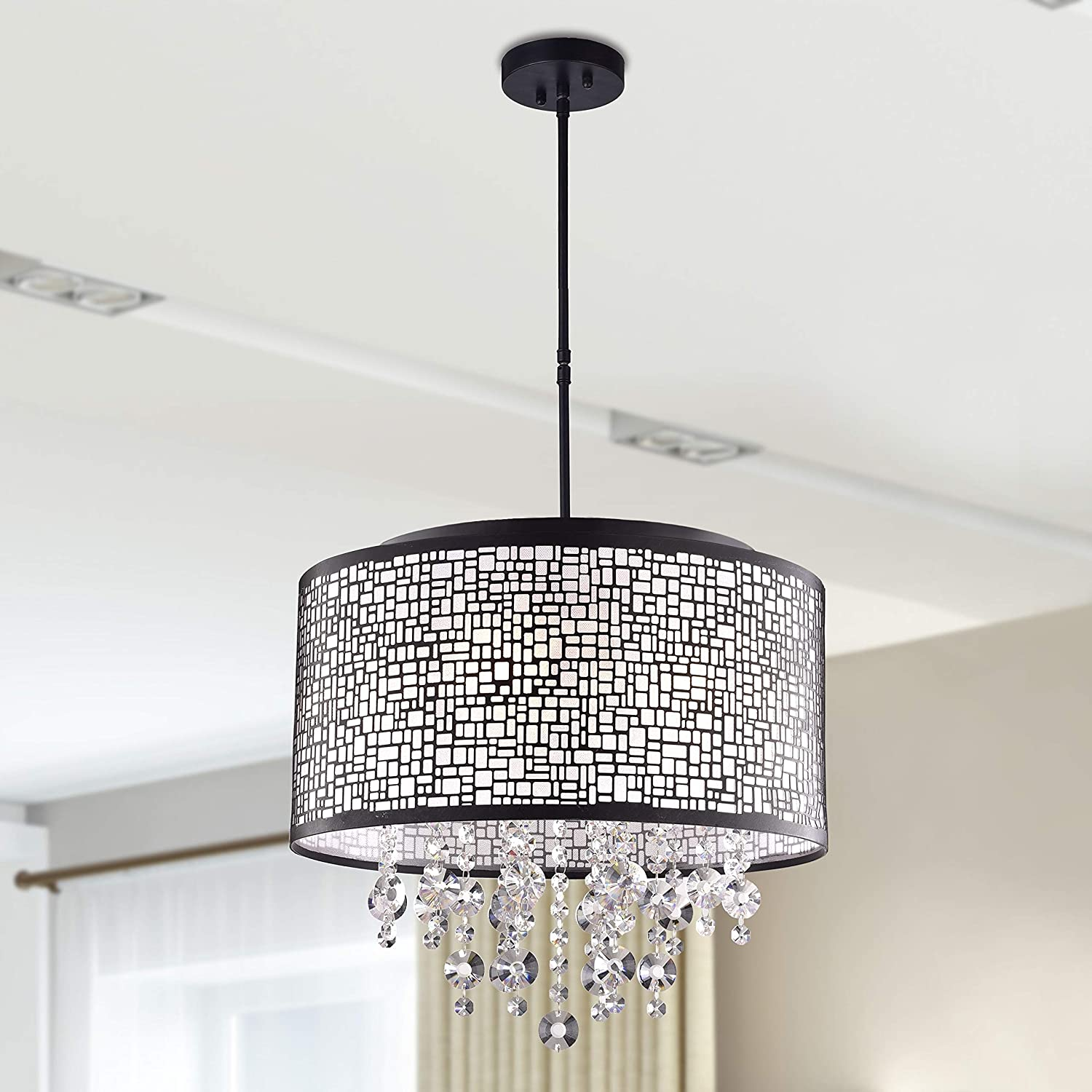 First Lighting Anais 4-Light Black Metal and Crystal Drum Chandelier