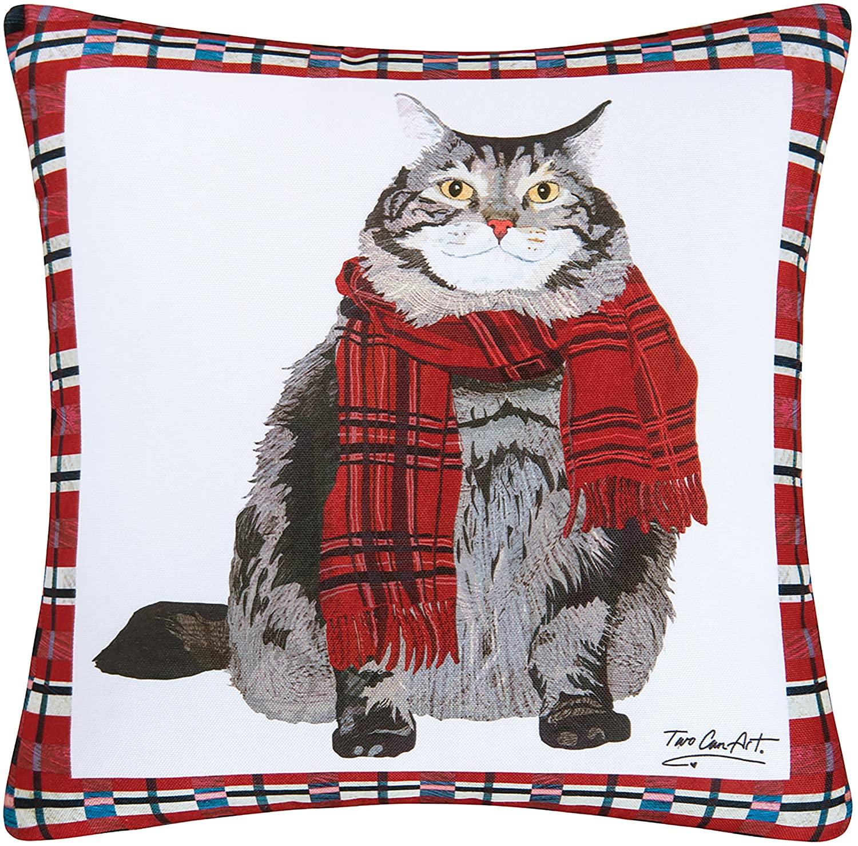 C&F Home Fat Cat Premium Indoor/Outdoor Decorative Accent Throw Pillow 18 x 18 Gray