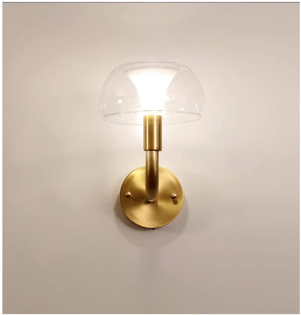 CROSSIO Modern Wall Sconces Gold, Minimalist Brass Mushroom Shape Glass Wall Light Lamp Lighting Flush Mount for Bedside Hallway Bathroom Hotel