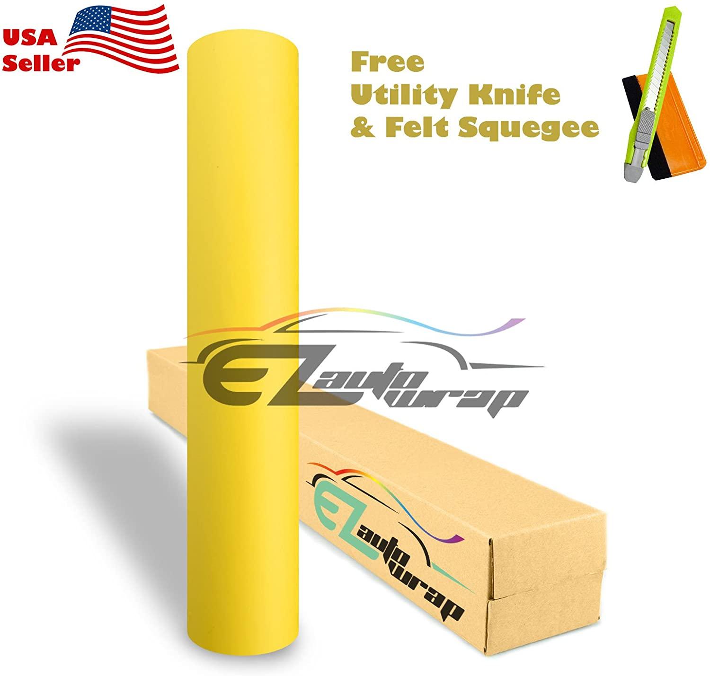 Free Tool Kit EZAUTOWRAP Matte Flat Yellow Car Vinyl Wrap Sticker Decal Film Sheet with Air Release - 60