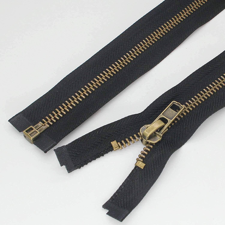 #8 24 Inch Antique Brass Zippers for Jackets Sewing Coats Crafts Separating Jacket Zipper Metal Zipper Heavy Duty (24