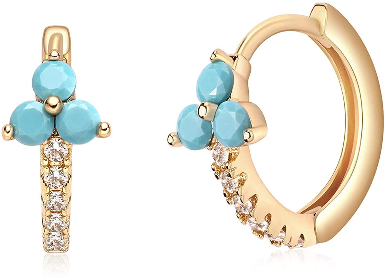 VACRONA Huggie Earrings for Women 18k Gold Plated Turquoise Huggie Earrings Cute Cuff Earrings Gifts for Her