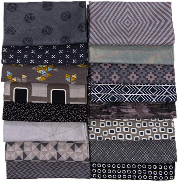 16 PCS 17.5 x 10.5 inches (44 x 25 cm) 100% Cotton Craft Fabric Bundle for Patchwork 16 Different Pattern Pre-Cut Quilting Fabric Fat Eighths Square for DIY Craft Sewing (Grey Pattern)