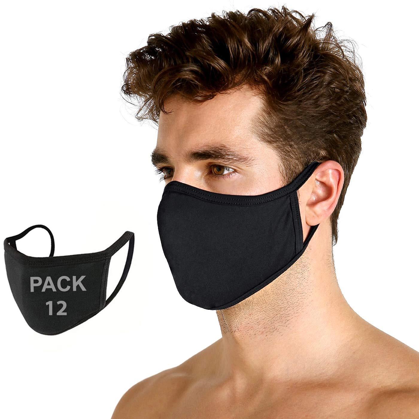 12 Pack Black Adult Face_Mask - Soft Material - Washable - Soft on Skin - Breathable Comfort