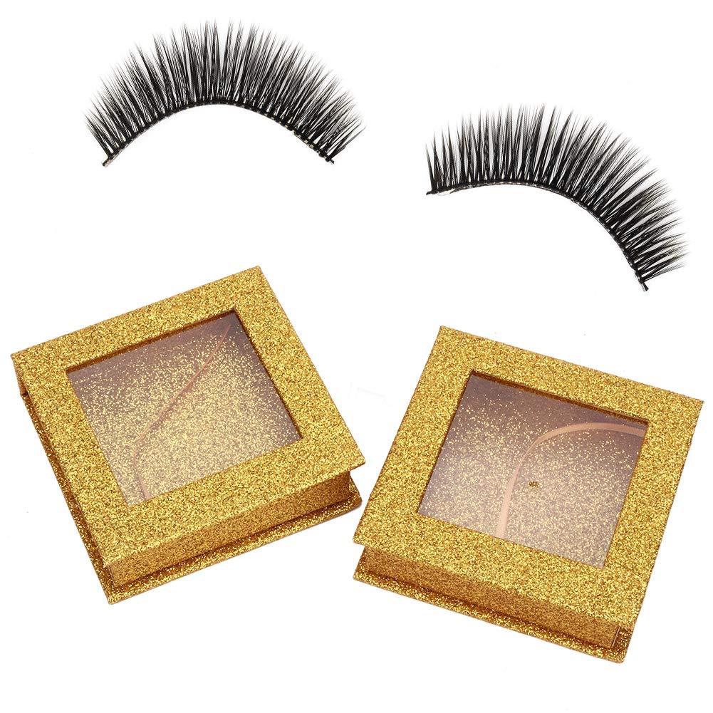 False Eyelashes Case, 2pcs Magnetic False Eyelashes Storage Case Glitter False Eye Lashes Storage Box Organizer Eye Makeup Cosmetic Tools for Women (Gold)