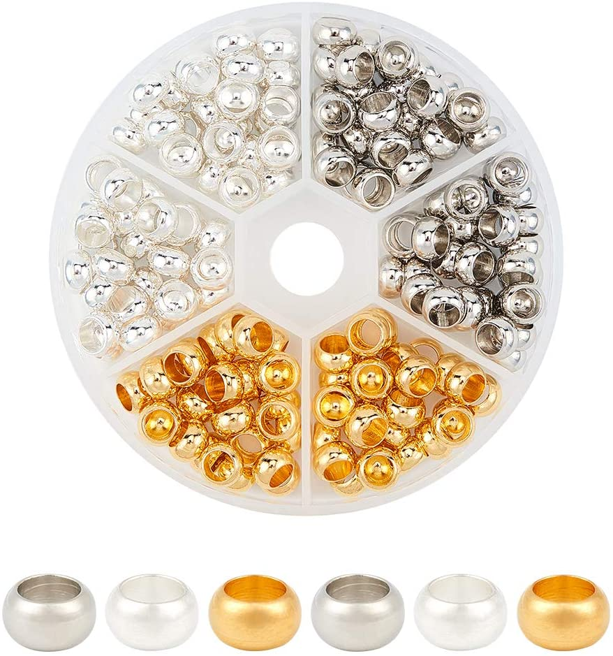 PH PandaHall 180pcs 3 Colors Rondelle European Beads Large Hole Spacer Beads Metal Loose Beads for Necklace Bracelet Jewelry Making; Hole: 4.5mm