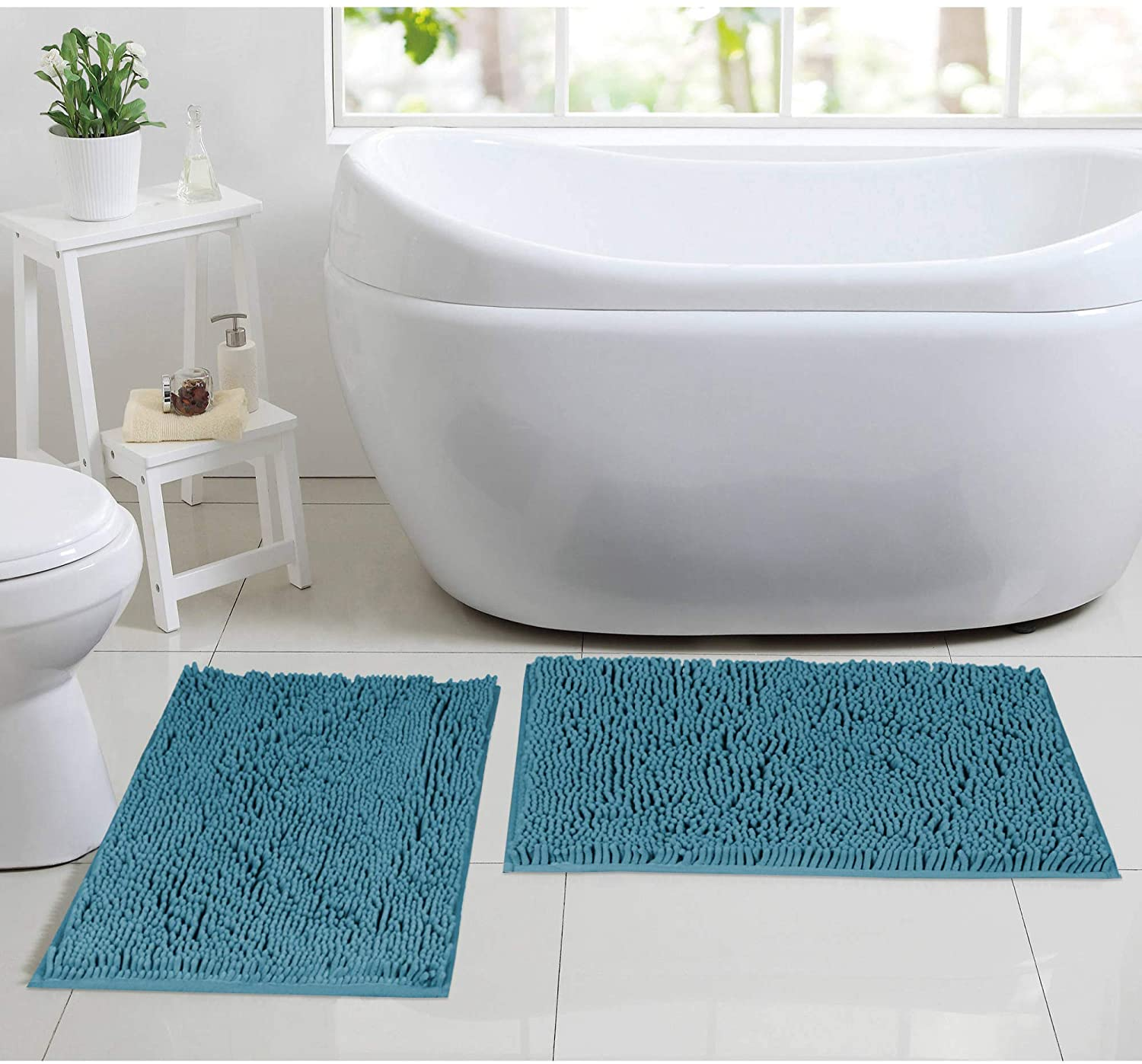 Chenille Microfiber Material Bath Rugs Chenille Floor Mat Ultra Soft Washable Bathroom Dry Fast Water Absorbent Bedroom Area Rugs Indoor Mats for Entryway, (Dark Teal 17