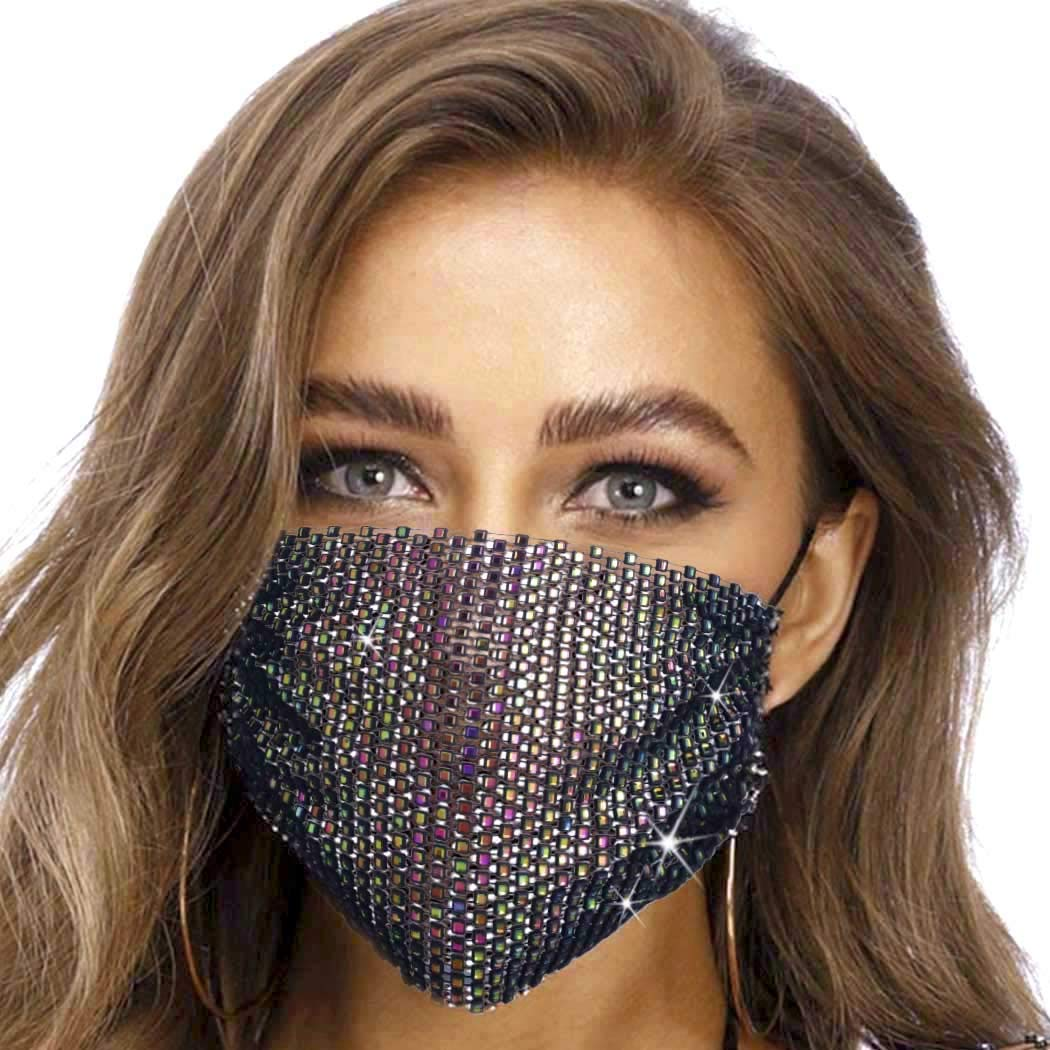 Fashband Sparkly Rhinestone Face Mask Bling Crystal Masquerade Mesh Net Face Cover Party Nightclub Decoration Jewelry Reusable for Women and Girls (Colorful)