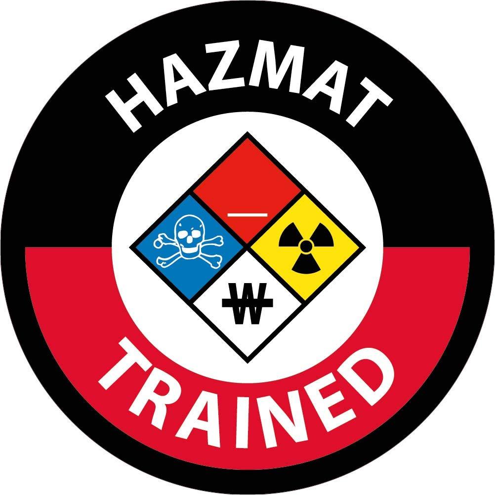 NMC HH139 Safety Sign Hard Hat Emblem, Hazmat Trained, 2 Dia, Ps Vinyl