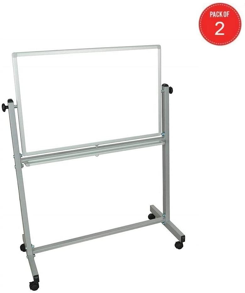 Luxor Reversible Magnetic Whiteboard/Whiteboard, White (White- Pack of 2)