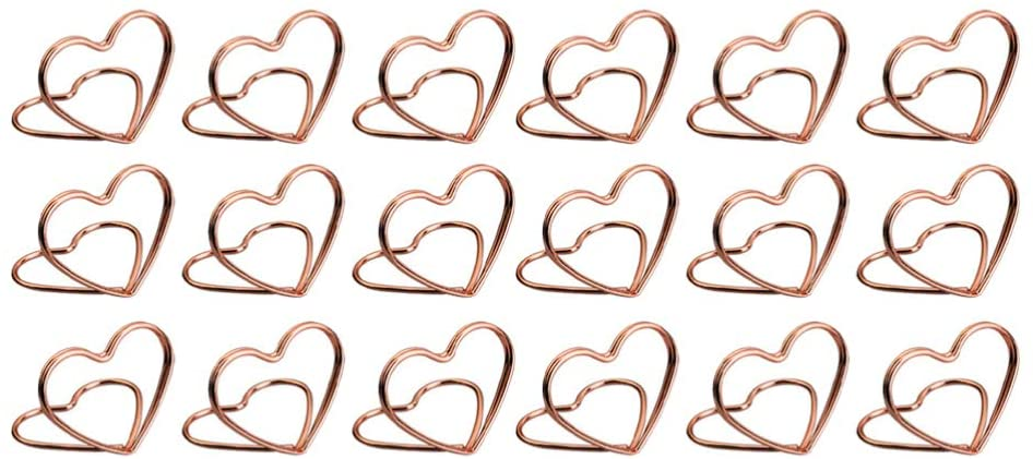 SUPVOX 20pcs Table Place Card Holders Heart Shape Table Number Holders Memo Holder Table Photo Holder Clips Menu Clips for Wedding Christmas Table Decorations (Rose Gold)