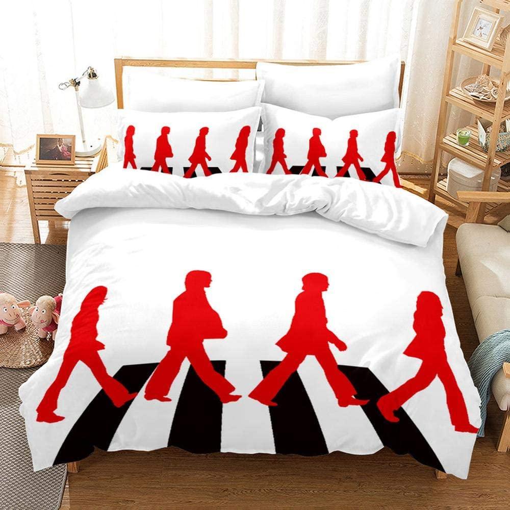 Queen Duvet Covers,3D The Beatles Printing Bedding Set 100% Polyester 1 Duvet Cover Set and 2 Pillowcases 3pcs J-US King259x229cm