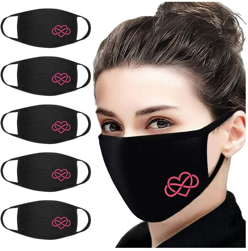 Women Girls Printed Protect_Face_Mask_Cover Print Breathable Protection Stretch Cute Cotton Bandana Washable for Men 5 Pack