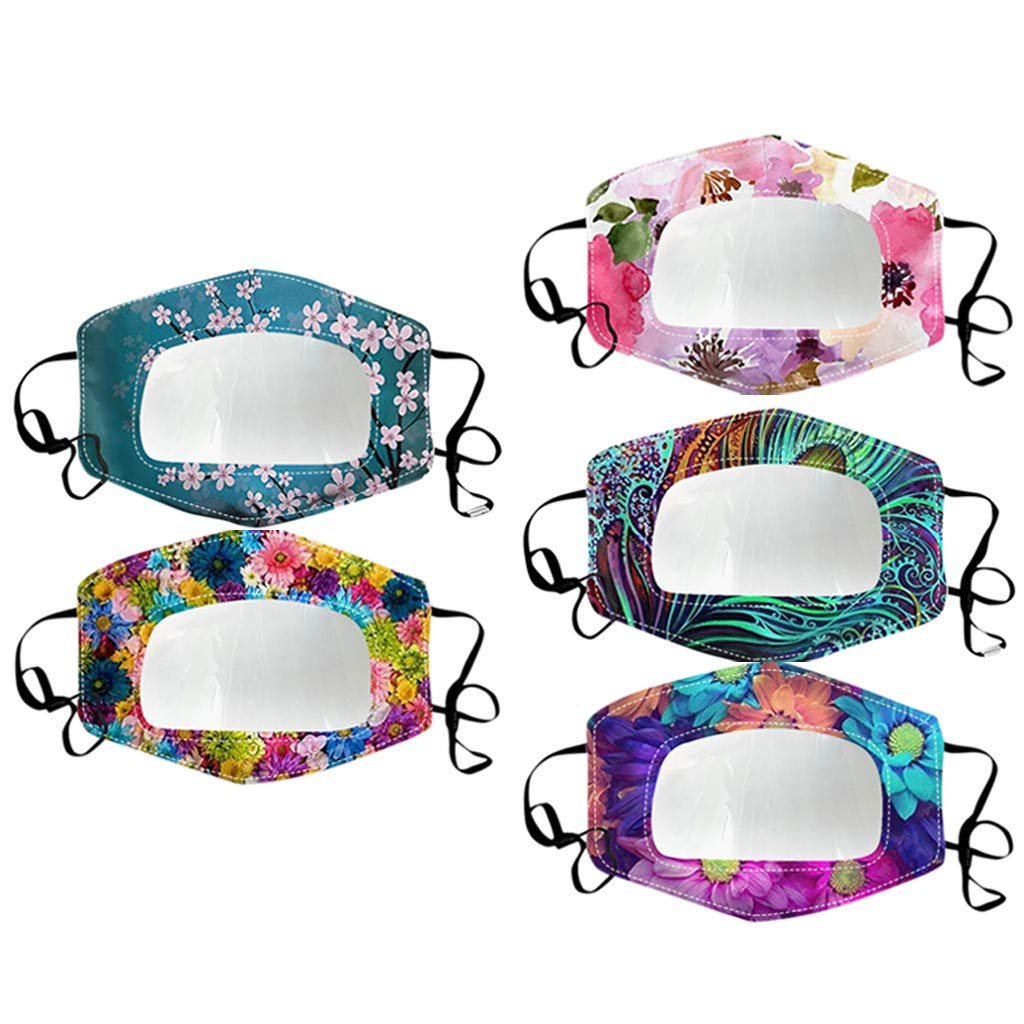Ussuma 5PC Reusable Anti Dust Unisex Face Bandana_Mask_Covering Reusable Fashion Print Mouth Face Bandanas, with Clear Window Visible Expression for The Deaf and Hard of Hearing