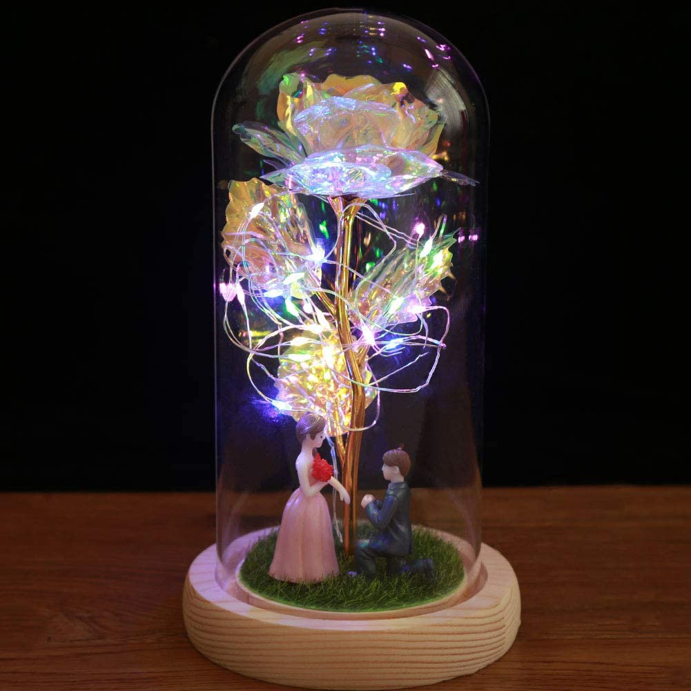 ATBTGTR Beauty and The Beast Rose Kit Artificial Colorful Rose with LED Light in Glass Dome for Home Decor Holiday Party Wedding Anniversary Best Gifts for Girlfriend Wife (Propose)