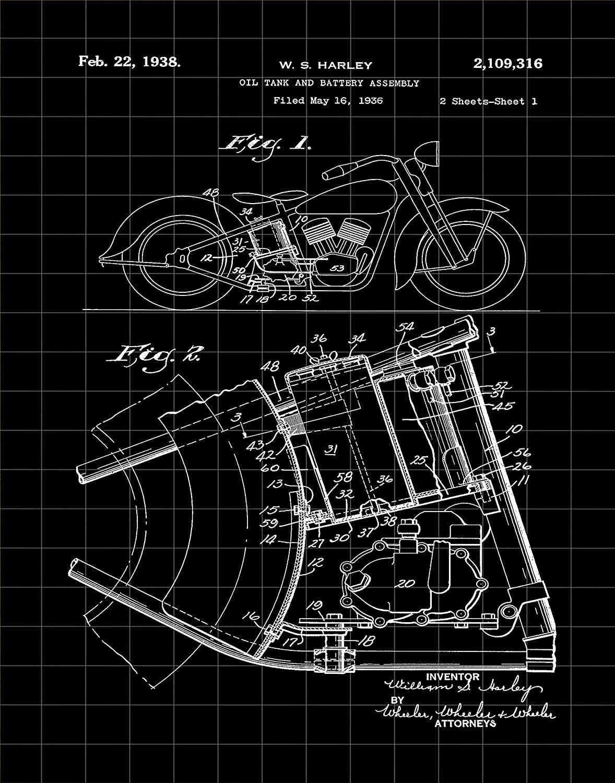 Wallbuddy Harley Davidson Patent Print from 1936 Vintage Harley Davidson Decor Motorcycle Decor Biker Decor Garage Poster Workshop Decor Gift WB304 (5 x 7, Black Grid)
