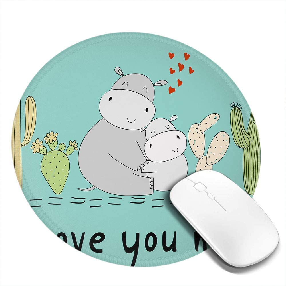 Hippo Round Mouse Pad Hippo Mom and Baby Hug Tight I Love You Mom Slogan Cactus Ornament Non-Slip Rubber Base Mousepad with Stitched Edge Waterproof Office Mouse Pad