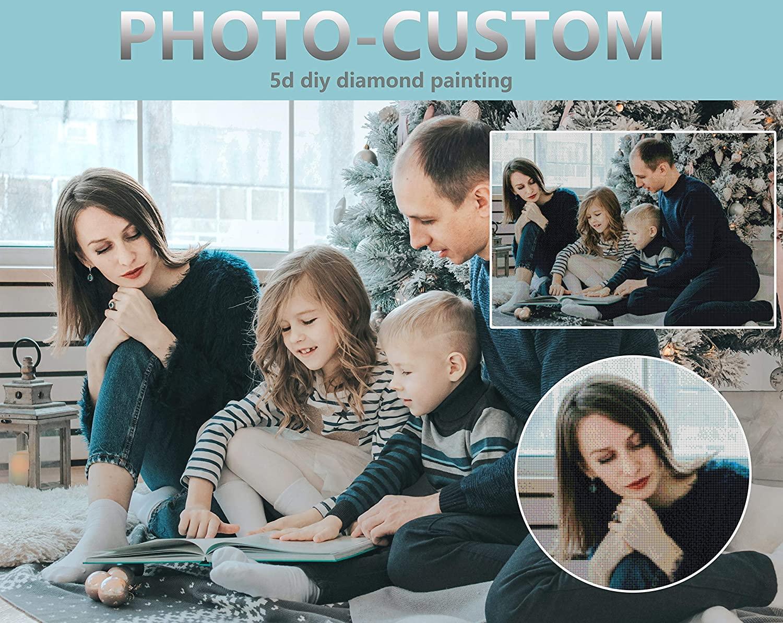 Custom Diamond Painting,Personalized Photo Custom 5D Full Drill Diamond Art Kits for Kids Gift Home Wall Decor (27.6x11.8inch/70X30CM)