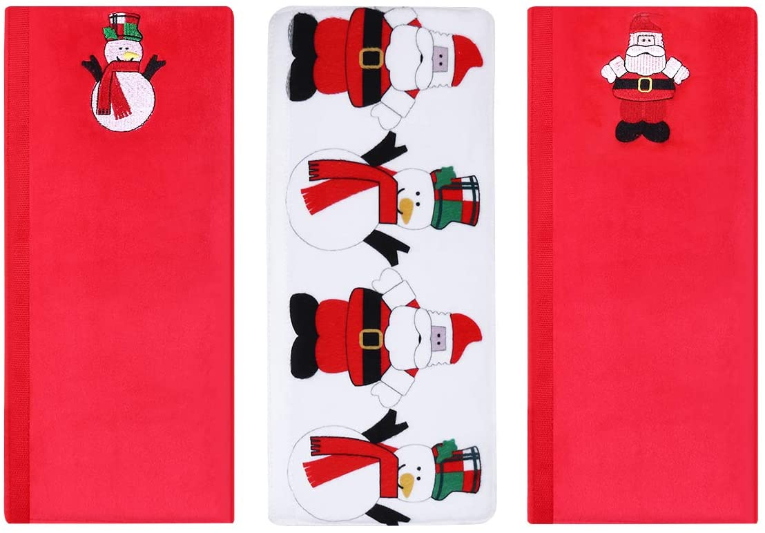 Amosfun Christmas Refrigerator Door Handle Covers Microwave Oven Dishwasher Kitchen Appliances Protective and Decorative Gloves Smudges Fingertips Food Stains Door Cloth Protector