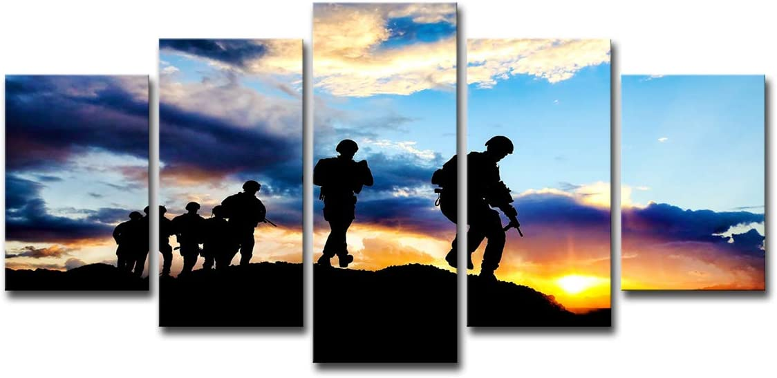 Mytinaart Art - Modern 5 Piece Canvas Art Soldiers Evening Paintings Wall Art Posters and Prints Sunset Landscape Pictures for Living Room Decor - Framed Ready to Hang